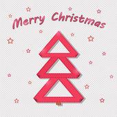 Tarjeta roja árbol de navidad — Vector de stock