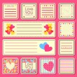 Set of Valentine Small Cards — Stock Vector