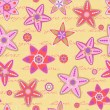 Seamless Pattern with Flowers and Hand Writing Text — Векторная иллюстрация