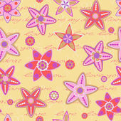 Seamless Pattern with Flowers and Hand Writing Text — ストックベクタ