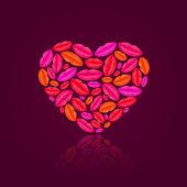 Dudakları ile dolu kalp — Stok Vektör
