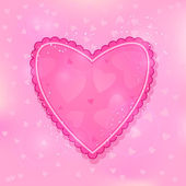 Pink Ruffled Heart on Light Shiny Background — Stock Vector