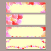 Banner Set with Red Pink Hearts — Stock Vector