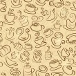 Stock Vector: Brown Seamless Pattern with Coffee and Tea Cups