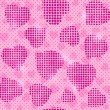 Royalty-Free Stock Imagen vectorial: Seamless Pink Pattern with Halftone Heart Silhouettes