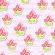 Vector de stock : Seamless Pattern with Flowers and Hand Writing Text