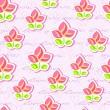 patrones sin fisuras con flores y texto de la escritura a mano — Vector de stock