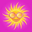 Shiny Yellow Sun with Smile - Stock Vector