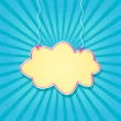 Retro Blue Card with Paper Cloud Hanging on Threads - Stock Vector