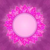 紫色の背景カード上のピンクの花ラベル — ストックベクタ