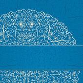 Köşede yarım mandala süsleme ile mavi arka plan — Stok Vektör