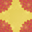 Stock vektor: Red Flower Card on Yellow Background.