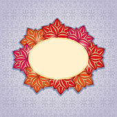 Pink and Orange Flowers Round Frame — Stock Vector