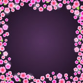 Romantic Pink Floral Frame on Dark Purple Background — Vector de stock
