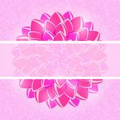 Kaart met roze bloem en horizontale plaats voor tekst. — Stockvector
