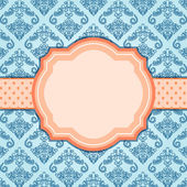 Elegant Vintage Blue Card with Orange Label in Center. — Stock Vector