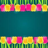 Bright Colorful Tulip Frame — Stock Vector