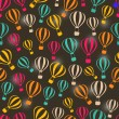 Seamless Dark Retro Pattern with Striped Hot Air Balloons — Stock Vector