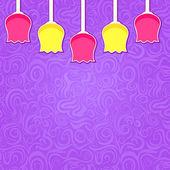 Simple Stylized Colorful Tulipa on Purple Swirl Background — Stock Vector
