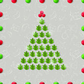 Shiny Christmas Tree Composed from Green Leaves. — Stock Vector