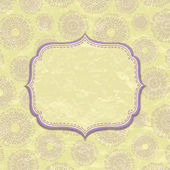 Light Yellow Vintage Card with Violet Decor — Stok Vektör