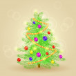 Vector Realistic Detailed Christmas Tree — Stock Vector