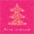 Pink Christmas Diamond Tree — Stock Vector