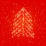 Shiny Light Red Neon Christmas Tree — Stock Vector