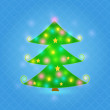 Stock Vector: Green Sparkle Christmas Tree on Blue Background