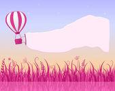 Hot Air Balloon Flying in Sky with Banner — Vector de stock