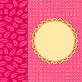 Light Pink nvitation Card with Lip Print Vertical Panel. — Stockvector