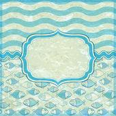Cartão azul com moldura elegante etiqueta — Vetorial Stock