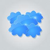 Blue Shiny Cloud Group Card — 图库矢量图片