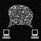 Speech Cloud between Two Laptop Computer. — Stockvektor