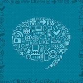 ícones de mídia social bolha forma de discurso — Vetor de Stock