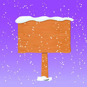 Wooden Board in White Snow — Stock Vector