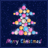 Colorful Gem Stone Christmas Tree Card — Stock Vector