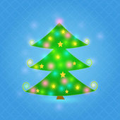 Green Sparkle Christmas Tree on Blue Background — Stock Vector