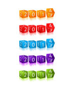 New 2014 Year Numbers on 3d Cubes — Stock Vector