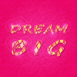 Shiny Dream Big Phrase on Pink Backdrop — Stock Vector