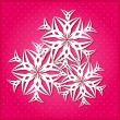 White Paper Snowflake on Pink Background — Stock Vector