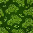 Go Green Car Seamless Pattern — Stock Vector