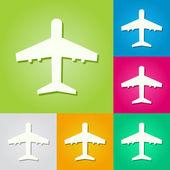 Conjunto de antecedentes de los aviones de papel — Vector de stock