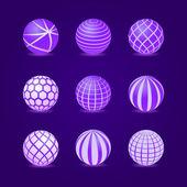 Rayas púrpuras redondo raya bola icono conjunto — Vector de stock