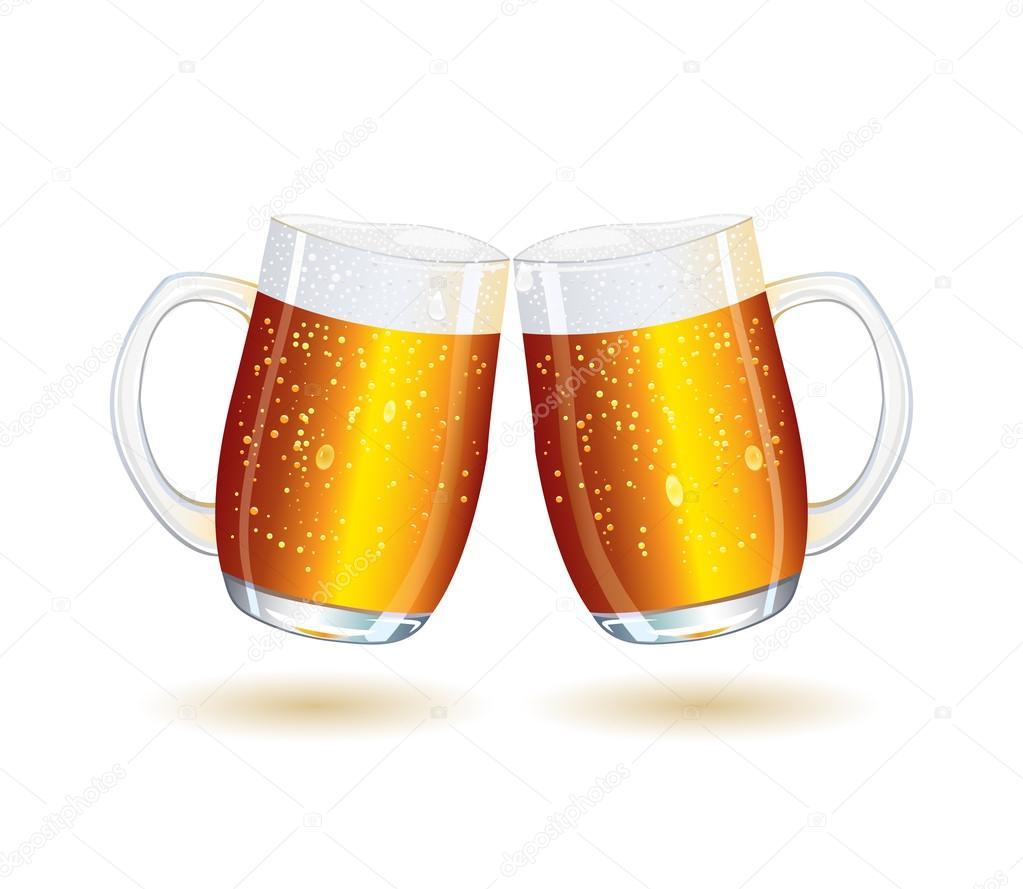 Two Splashing Shiny Beer Mugs — Stock Vector © nikifiva ...