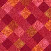 Retro Red Rhombus Swirl Baroque Card — Stock Vector