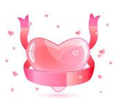 Pink Heart and Ribbon — Stock Vector