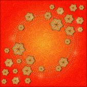 Círculo de flor bege no meio do cartão — Vetor de Stock