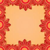 Czerwona ramka kwiatowy — Wektor stockowy