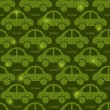 Green Eco Car Seamless Pattern — Stock Vector